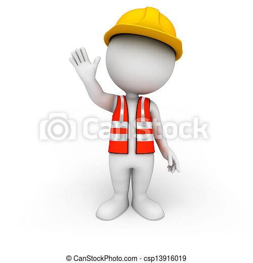 gens, ouvrier route, 3d, blanc - csp13916019