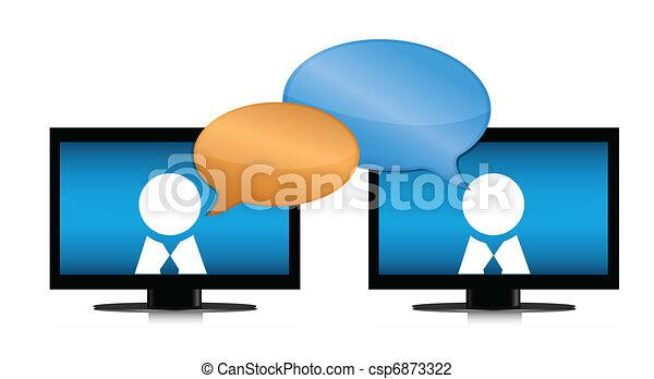 gens, par, bavarder, internet - csp6873322