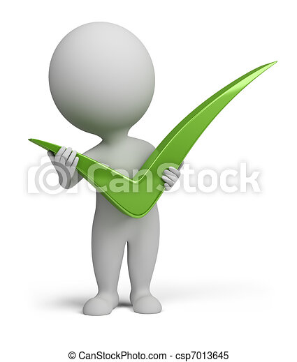gens, positif, symbole, tenue, petit, 3d - csp7013645