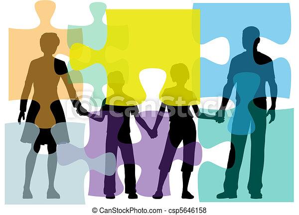 gens, puzzle, problème, conseiller, famille, solution - csp5646158