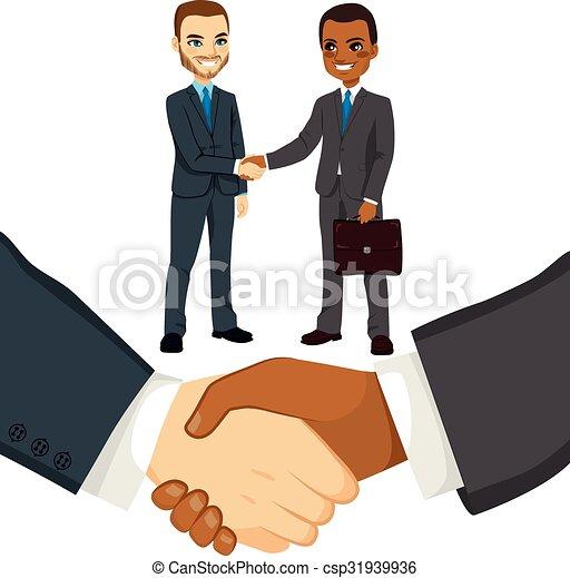gens, secousse, hommes affaires, mains - csp31939936