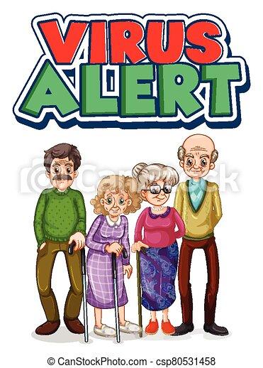 gens, texte, caractère, vieux, alerte, virus - csp80531458