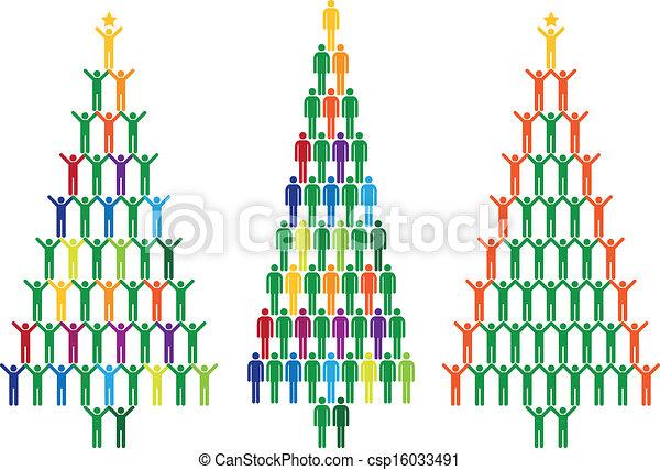 gens, vecteur, arbre, noël - csp16033491
