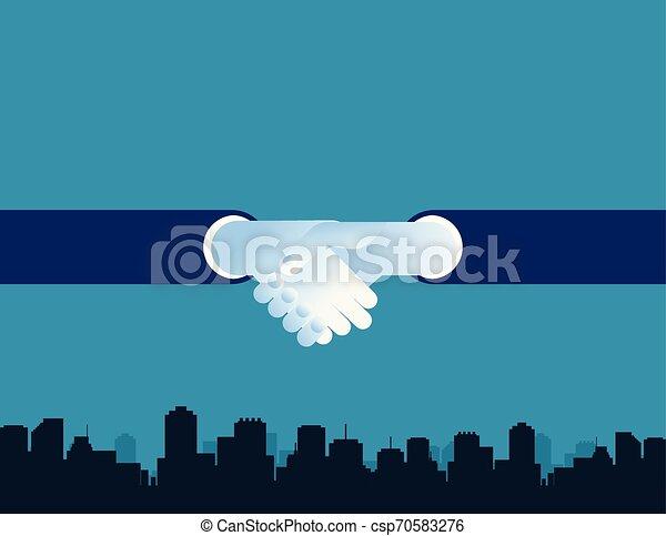 gens, vecteur, flat., reussite, fond, mains secouer, business, city., concept, illustration. - csp70583276