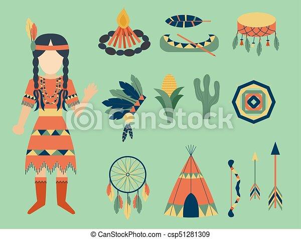 gens, vendange, indiens, ornement, illustration, élément, vecteur, retro, ethnique, hindouisme, outils, temple, icône - csp51281309