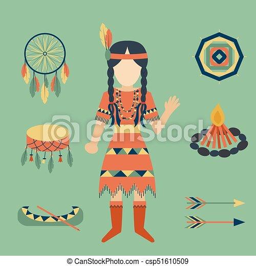 gens, vendange, indiens, ornement, illustration, élément, vecteur, retro, ethnique, hindouisme, outils, temple, icône - csp51610509