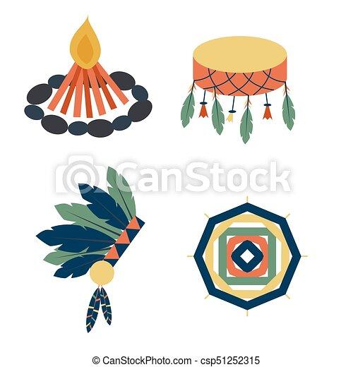 gens, vendange, indiens, ornement, illustration, élément, vecteur, retro, ethnique, hindouisme, outils, temple, icône - csp51252315