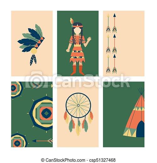 gens, vendange, indiens, ornement, illustration, élément, vecteur, retro, ethnique, cartes, hindouisme, outils, temple, icône - csp51327468