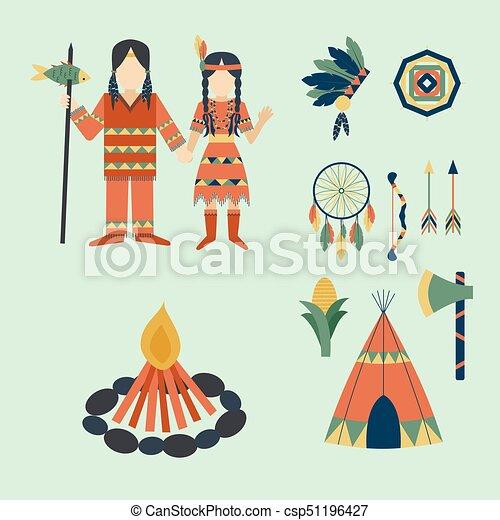 gens, vendange, indiens, ornement, illustration, élément, vecteur, retro, ethnique, hindouisme, outils, temple, icône - csp51196427