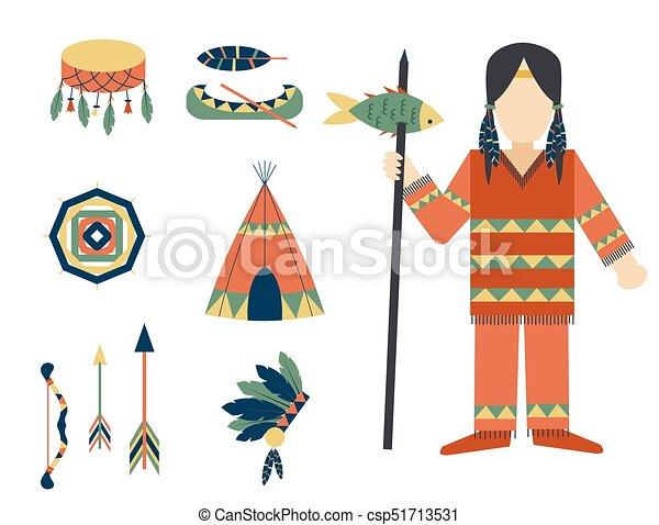gens, vendange, indiens, ornement, illustration, élément, vecteur, retro, ethnique, hindouisme, outils, temple, icône - csp51713531