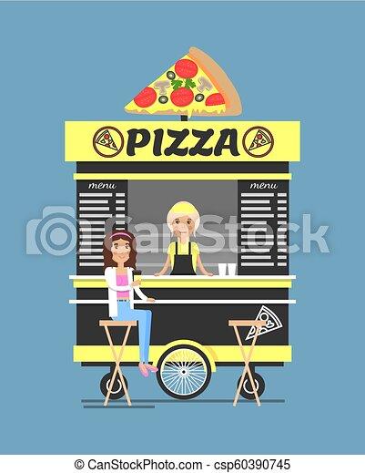 La pizzería está al lado de la ilustración de vectores - csp60390745