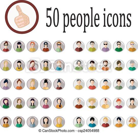 gente, 50, iconos - csp24054988