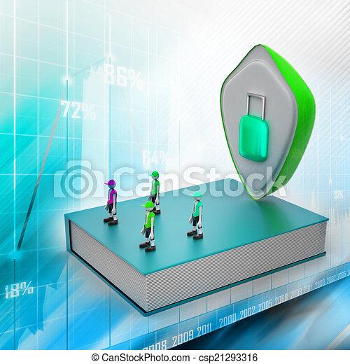 El concepto de protección: libro cerrado con gente y candado - csp21293316
