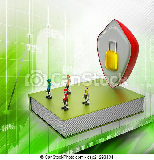 El concepto de protección: libro cerrado con gente y candado - csp21293104