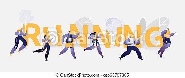La gente corre maratón de la competencia deportiva - csp65707305