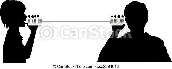 La gente habla de escuchar en lata puede comunicarse - csp2394018
