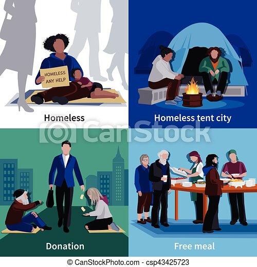 Gente sin hogar concepto de diseño 2x2 - csp43425723
