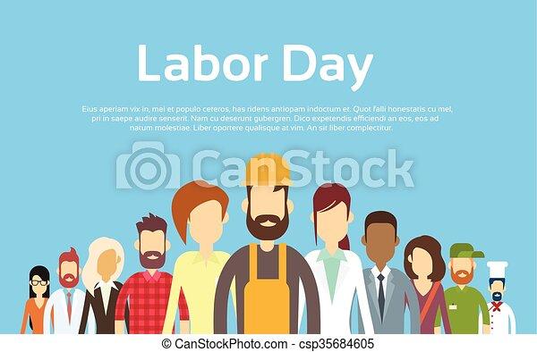 La gente organiza diferentes ocupaciones, día laboral internacional - csp35684605