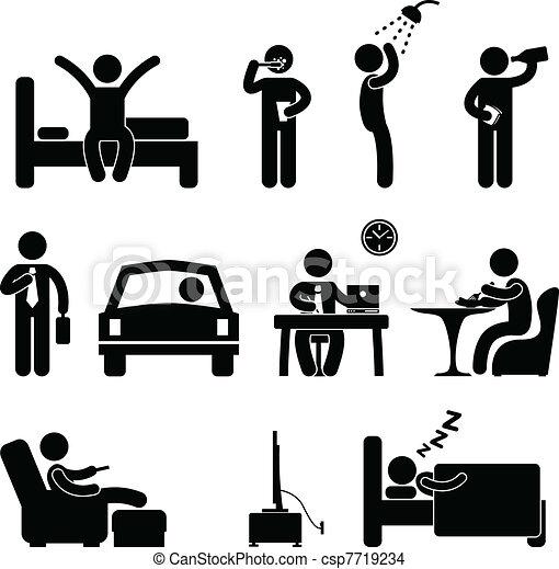 gente, diario, señal, rutina, icono, hombre - csp7719234