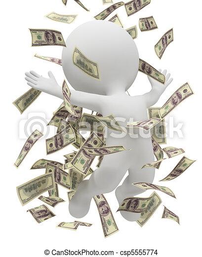 3 personas pequeñas - lluvia de dinero - csp5555774