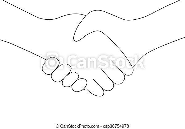 Un apretón de manos entre dos personas entrando en el icono de la transacción - csp36754978