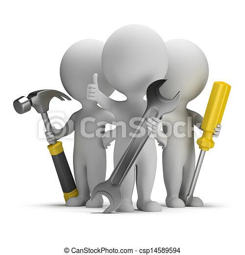 gente, -, excelente, pequeño, reparadores, 3d - csp14589594
