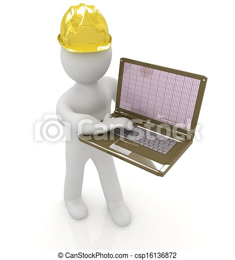 Gente de 3D, un ingeniero con el portátil - csp16136872