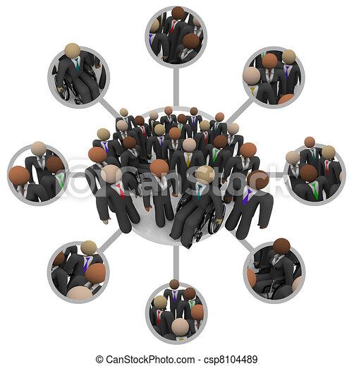 Fuerza de trabajo diversa de gente profesional conectada con trajes - csp8104489