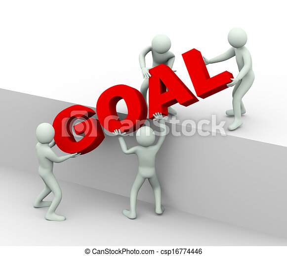 3 personas - concepto de gol y objetivo alcanzando - csp16774446