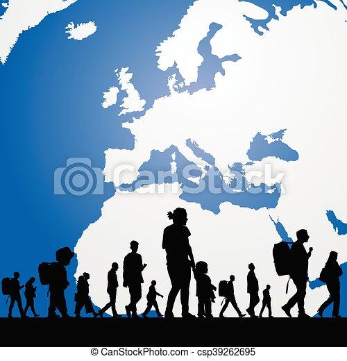 Gente migratoria con mapa en ilustración de fondo - csp39262695