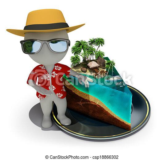 3D personas pequeñas - pedazo de paraíso - csp18866302