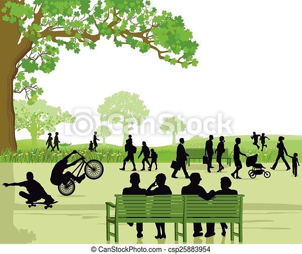 Gente en el área del parque - csp25883954