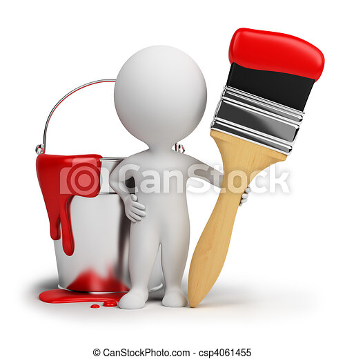 gente, -, pintura, bruja, cepillo, pequeño, 3d - csp4061455