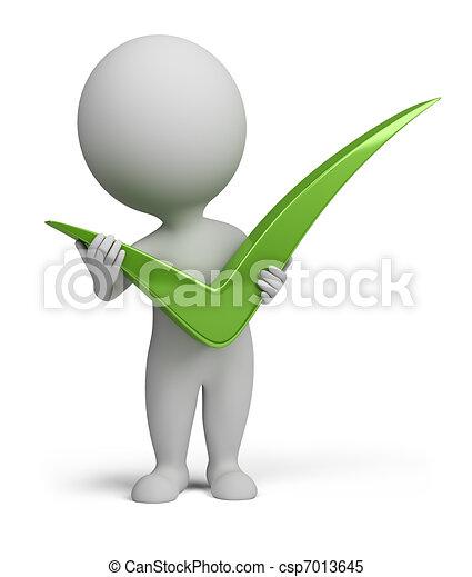 gente, positivo, símbolo, tenencia, pequeño, 3d - csp7013645