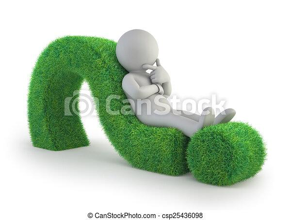 3D personas pequeñas, tumbadas en un signo de interrogación verde - csp25436098