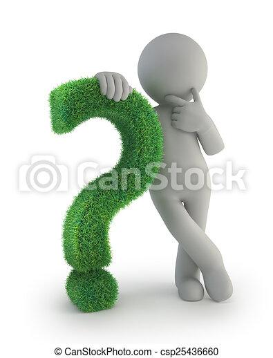 3D personas pequeñas - con un signo de interrogación verde - csp25436660