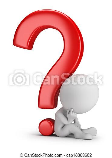 3D personas pequeñas, reflexionando sobre la pregunta - csp18363682