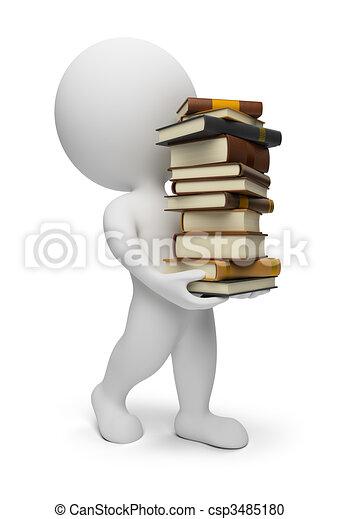 gente, proceso de llevar, -, libros, pequeño, 3d - csp3485180