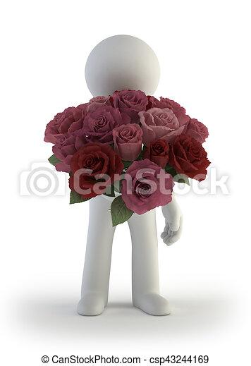 3D personas pequeñas - ramo de rosas - csp43244169