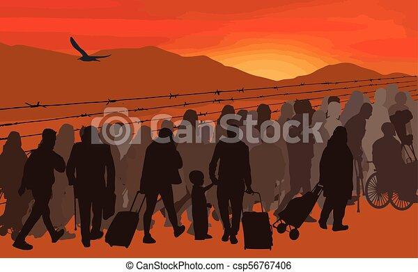 Siluetas de refugiados detrás de alambre de púas - csp56767406