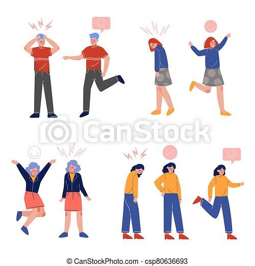 gente, su, colección, encima, niños, vario, joven, ilustración, emociones, niñas, vector, cabezas, señales - csp80636693