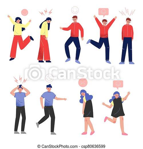 gente, su, encima, niños, vario, casual, emociones, joven, ilustración, niñas, vector, ropa, colección, cabezas, señales - csp80636599