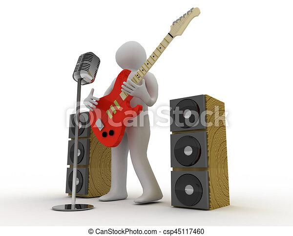 3D blancos tocando guitarra eléctrica con micrófono retro - csp45117460