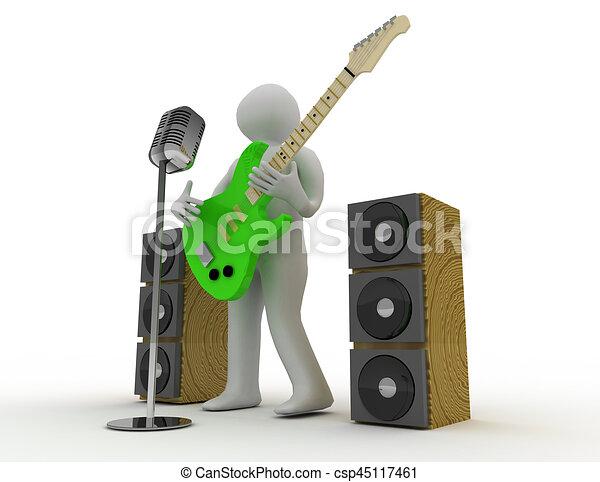 3D blancos tocando guitarra eléctrica con micrófono retro - csp45117461