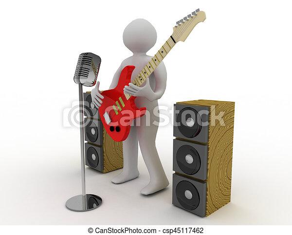 3D blancos tocando guitarra eléctrica con micrófono retro - csp45117462