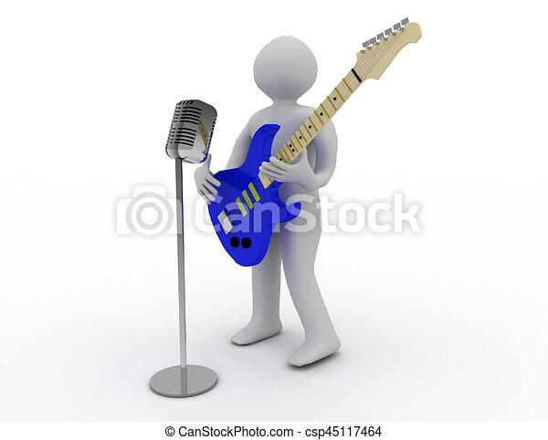 3D blancos tocando guitarra eléctrica con micrófono retro - csp45117464