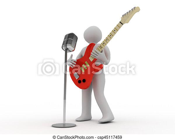 3D blancos tocando guitarra eléctrica con micrófono retro - csp45117459