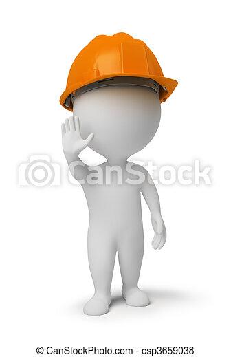 3d gente pequeña - trabajador en una posición de alto - csp3659038