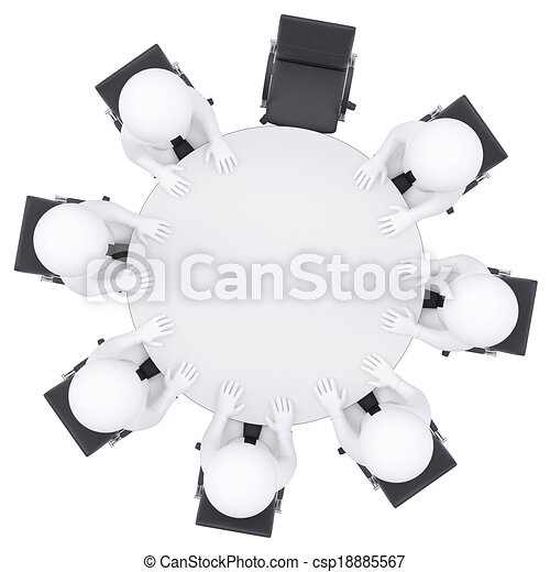 3D personas en la mesa redonda. Una silla está vacía - csp18885567