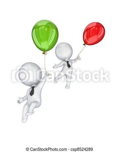 3D personas pequeñas volando con globos de aire. - csp8524289